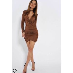 Brown I Saw It First Long Sleeve Dress